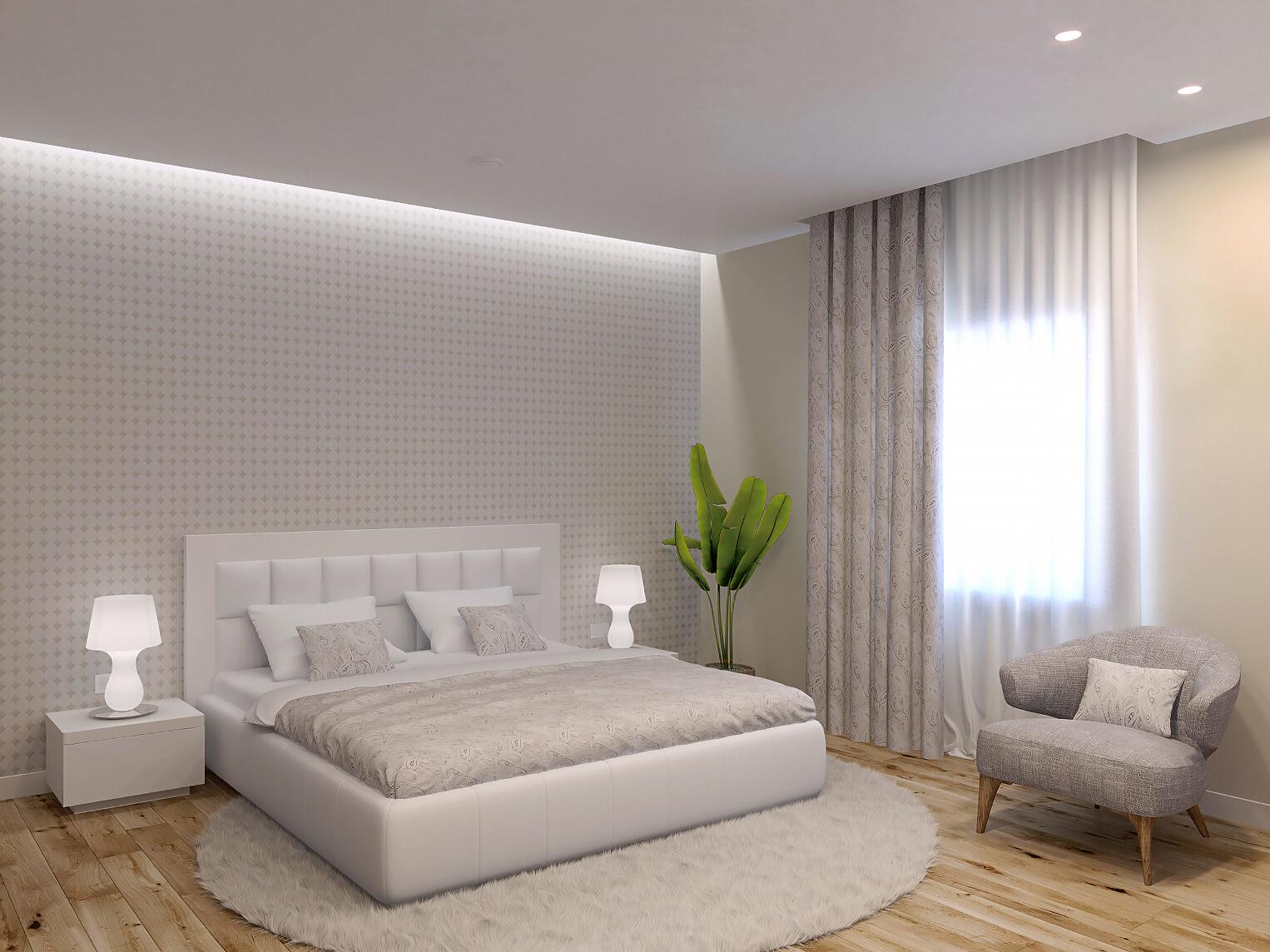 Монохромность в интерьере спальни можно разнообразить фактурой