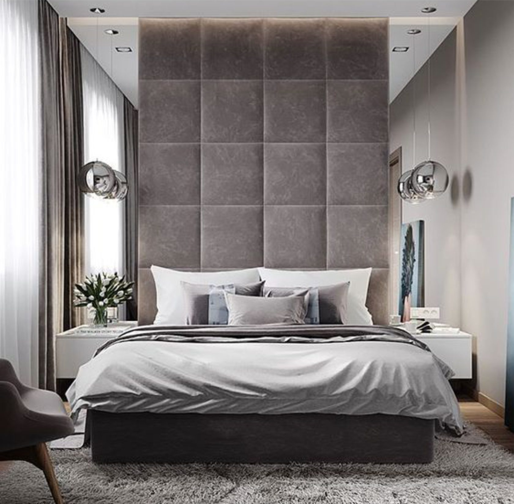Изголовье кровати делает на себе акцент, если оно до потолка