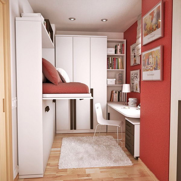 Мебель-трансформер в дизайне ммаленькой спальни