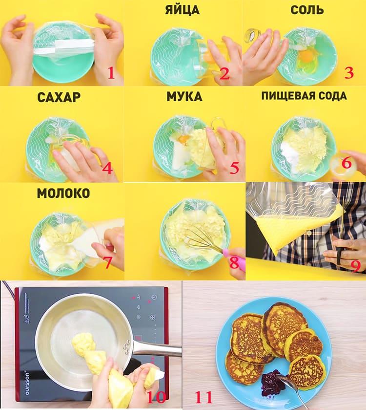 Тесто для блинчиков, помещенное в пакет избавит вас от необходимости отмывать посуду