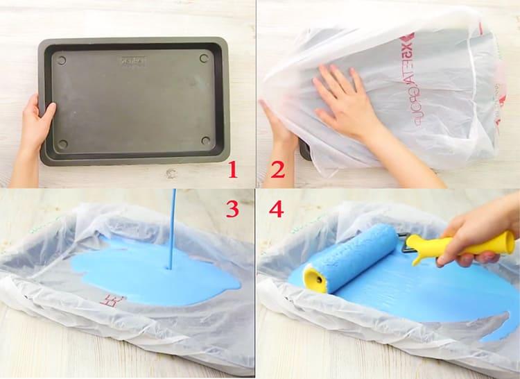 Прикрытая пакетом емкость даже после краски останется чистой
