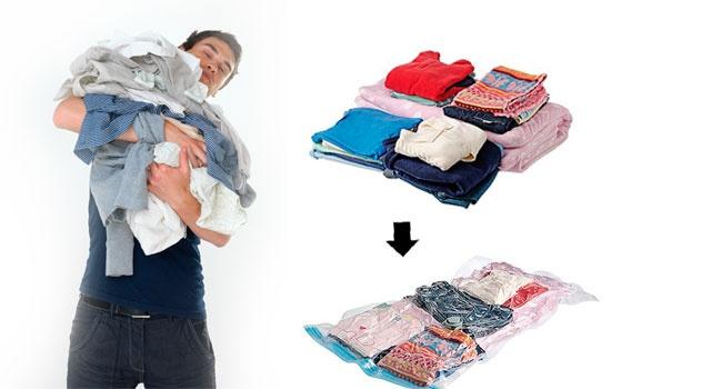 Использовав вакуумный пакет можно существенно сэкономить место в шкафу и защитить вещи от съедения их молью