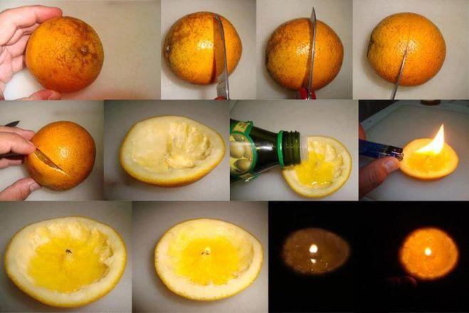 Процесс изготовления свечи из апельсина