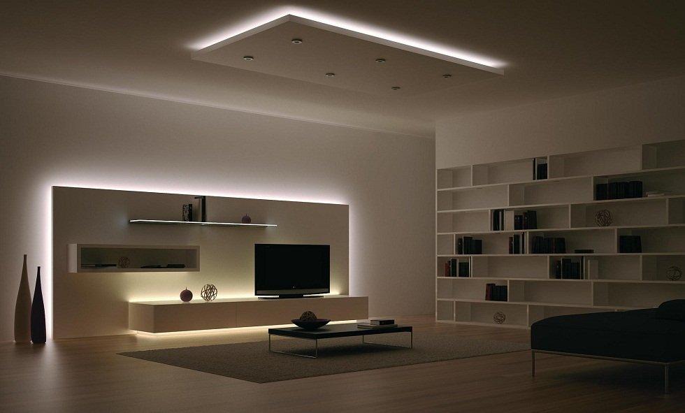 Приглушенное освещение, созданное с помощью светодиодных лент