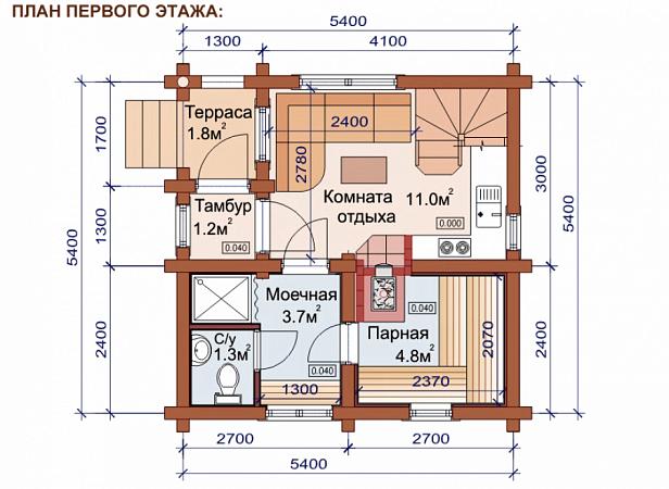 Проект первого этажа дома, совмещенного с баней