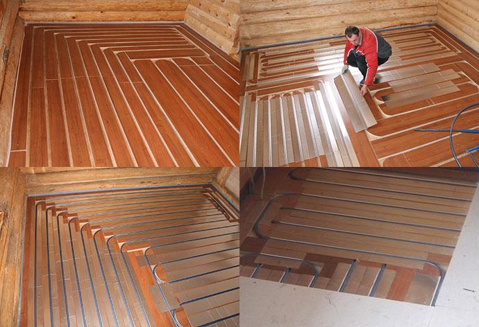Фото одного из вариантов обустройства теплого пола в деревянном доме.