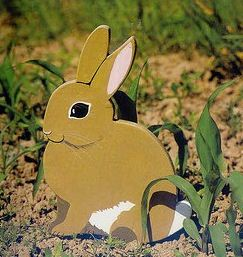 Фото самодельного зайца для декорирования участка.