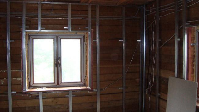 Гипсокартон допускается использовать в деревянном доме
