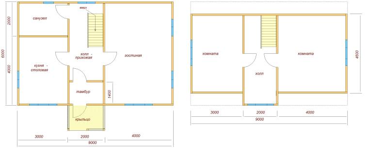 Готовые проекты домов 6х9 с мансардой из бруса