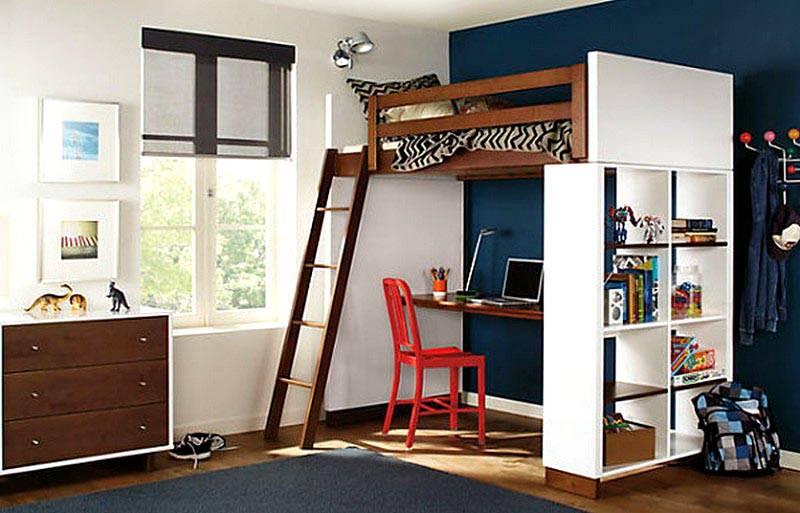 Стеллаж также будет функциональной мебелью, местом куда можно расставить книги