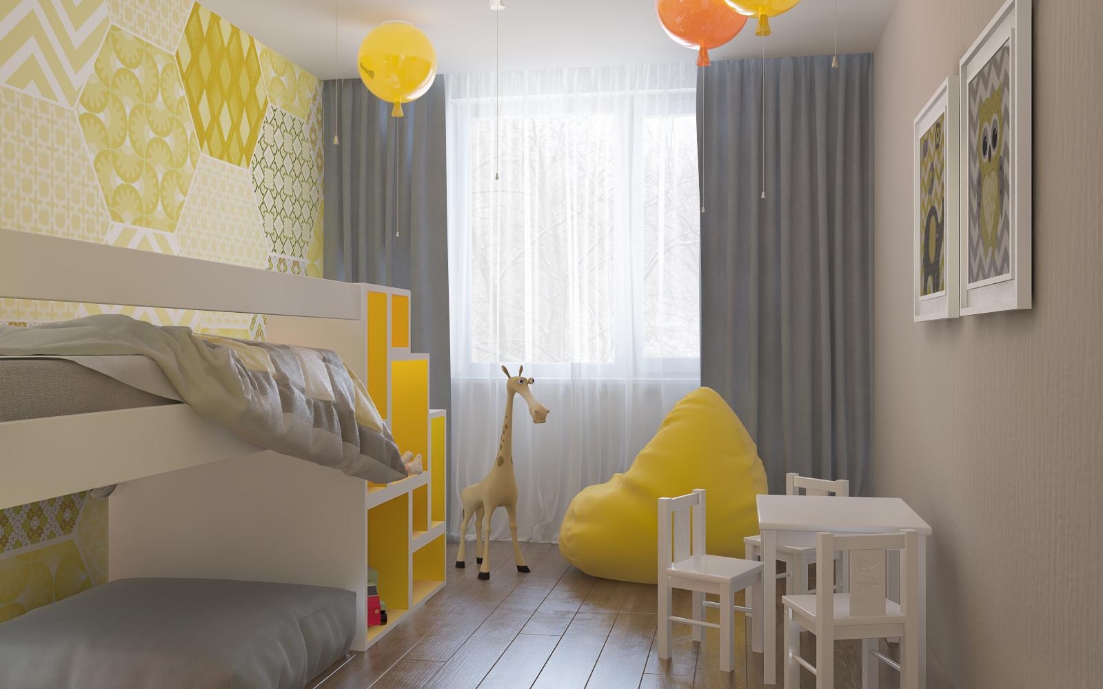 Яркие цвета стен в разных зонах визуально отделяют их друг от друга