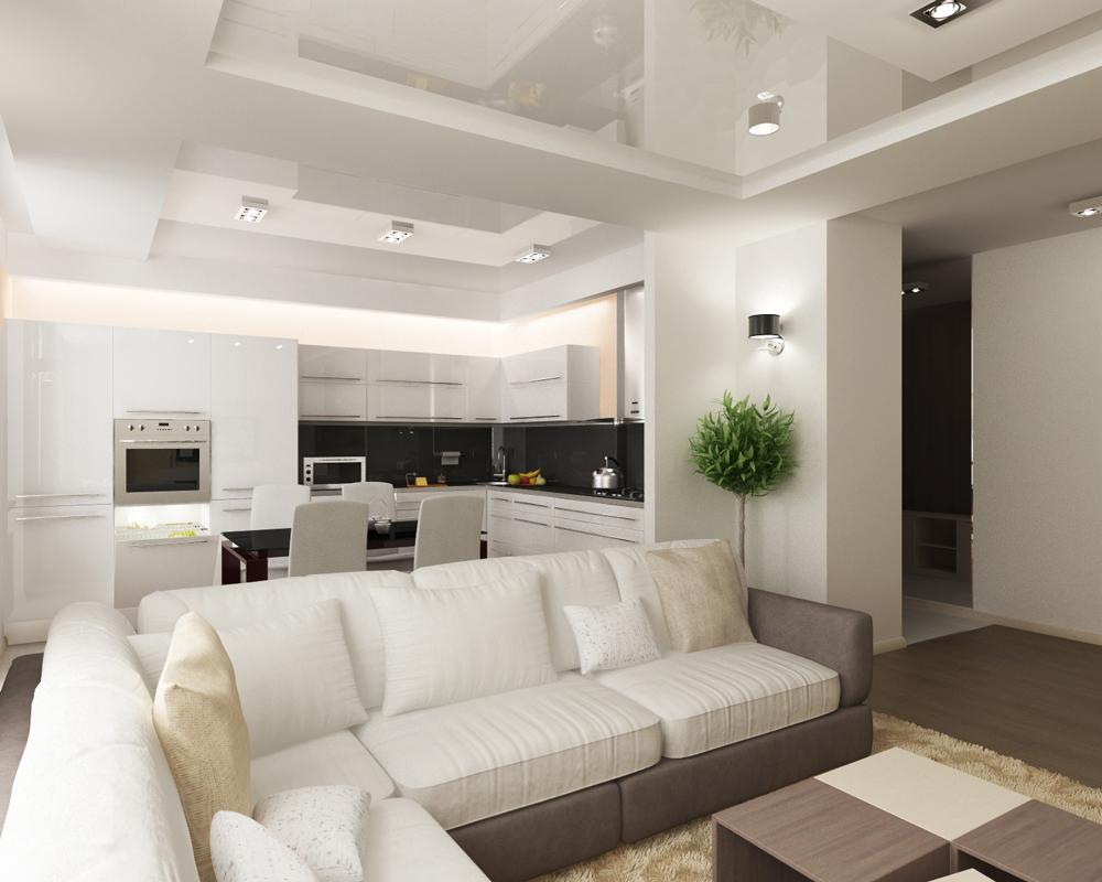 Современный стиль чаще всего используется в объединенных комнатах, например в квартирах студиях