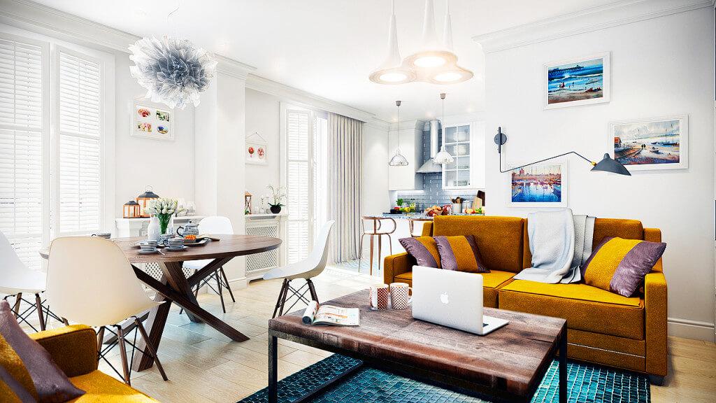 Стиль в объединенных комнатах требует много естественного света, поэтому не стоит использовать темные и плотные шторы на окнах
