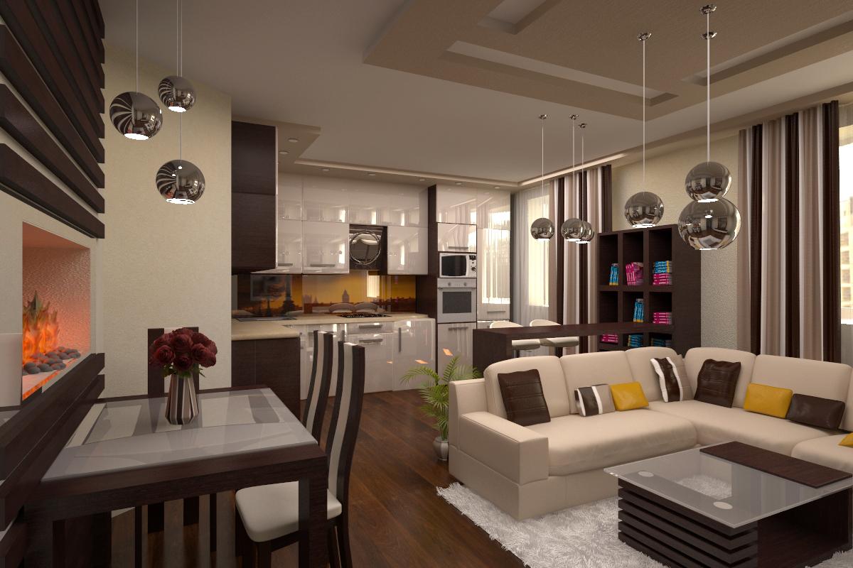 Оформить дизайн кухни-гостиной можно с помощью стилей интерьера