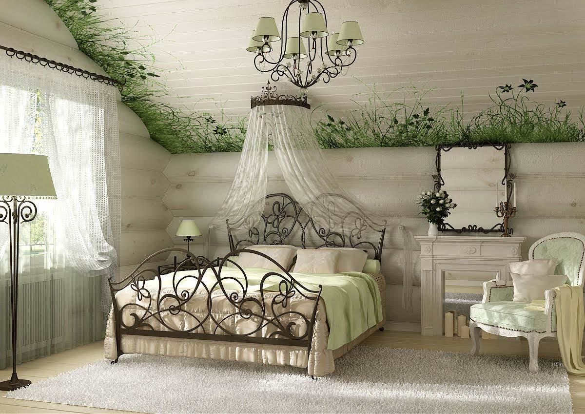 Кровать с балдахином у изголовья