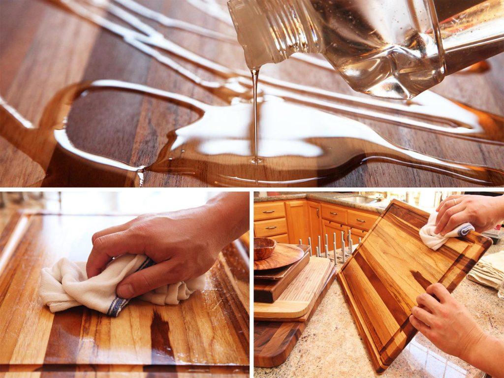 Процесс нанесения масла на деревянную поверхность