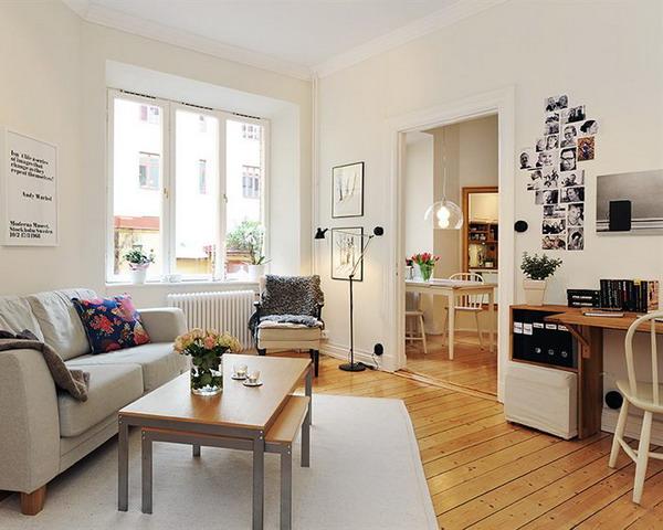 Отличный пример разделения зон в однокомнатной квартире