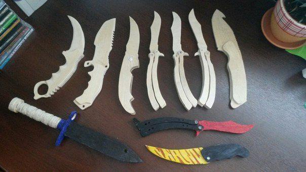 Имитации ножей из древесно-слоистого листа.