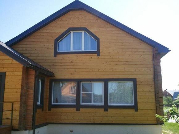 Имитация бруса А сортана фасаде дома