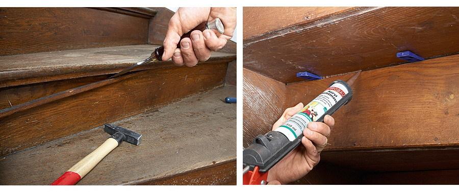 Как убрать скрип деревянной лестницы с помощью герметика