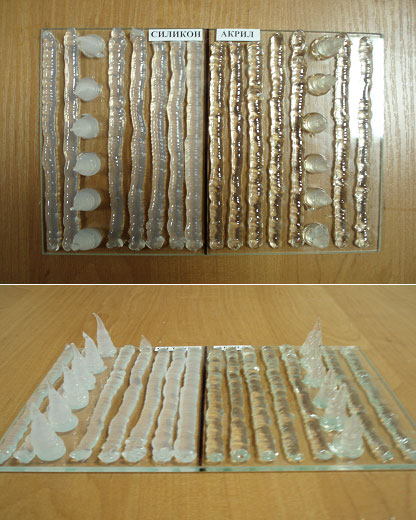 Как видно на фото, составы на основе акрила гораздо прозрачнее силиконовых вариантов