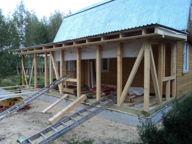 Каркасный пристрой к деревянному дому своими руками на загородном участке