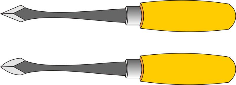 Клепики с разной формой лезвия