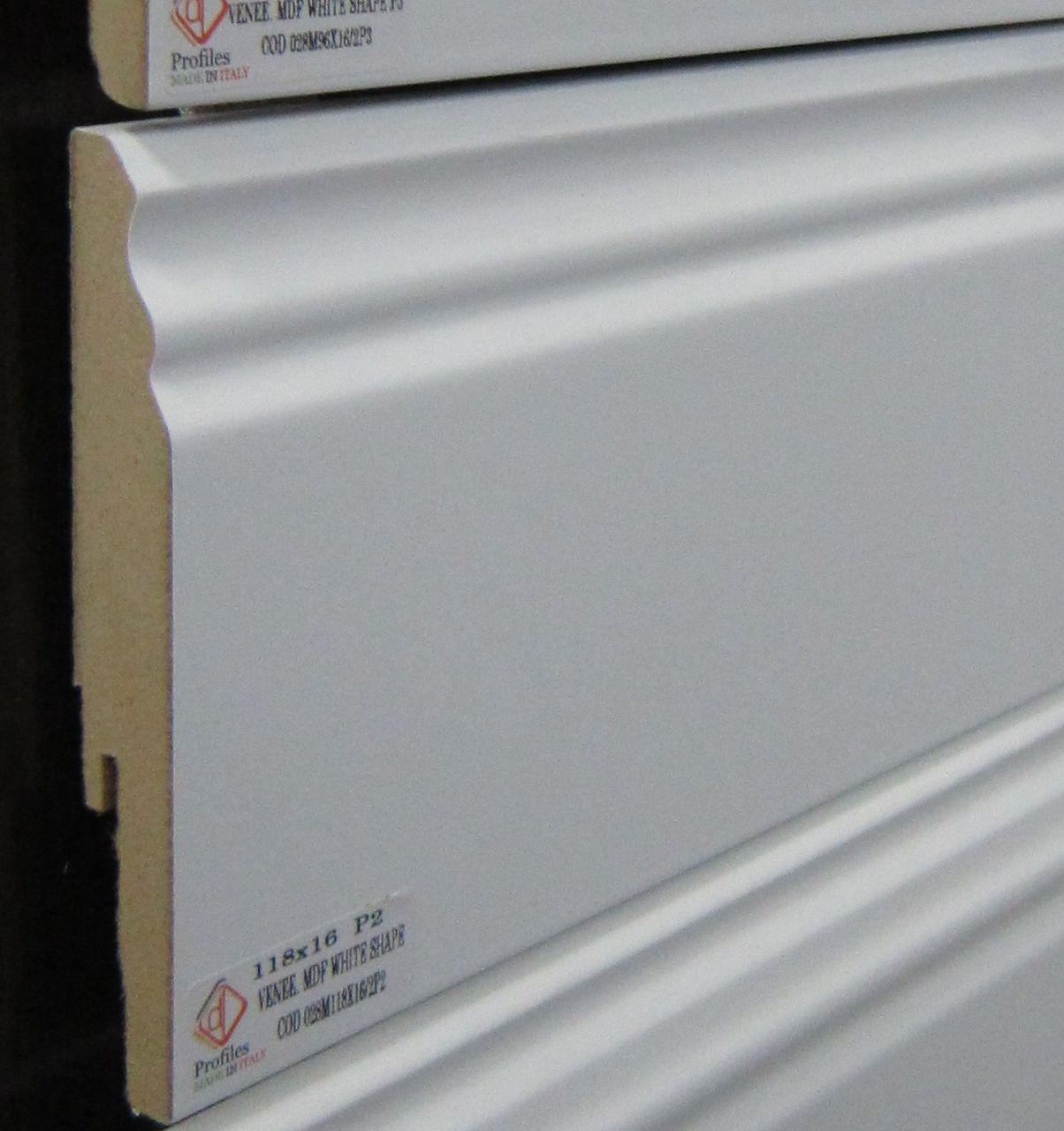 Крашеный белый плинтус МДФ 120 мм для обрамления помещения