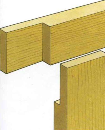 Крепление деревянных брусков между собой вполдерева под углом 90˚.