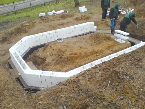 Ленточный фундамент в несъемной пенопластовой опалубке под беседку из дерева