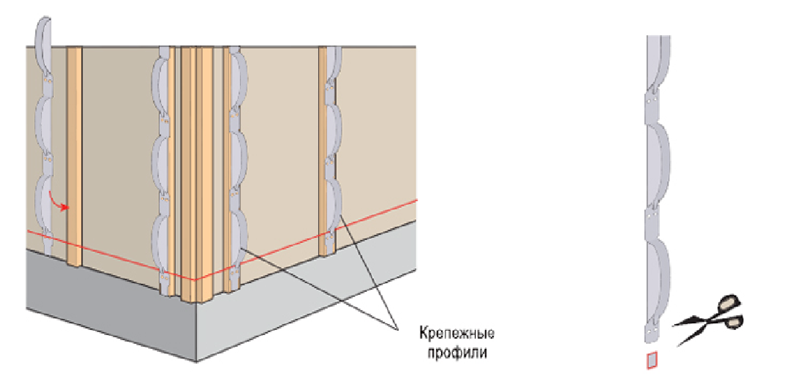 Монтаж вертикальных профилей с защелками.
