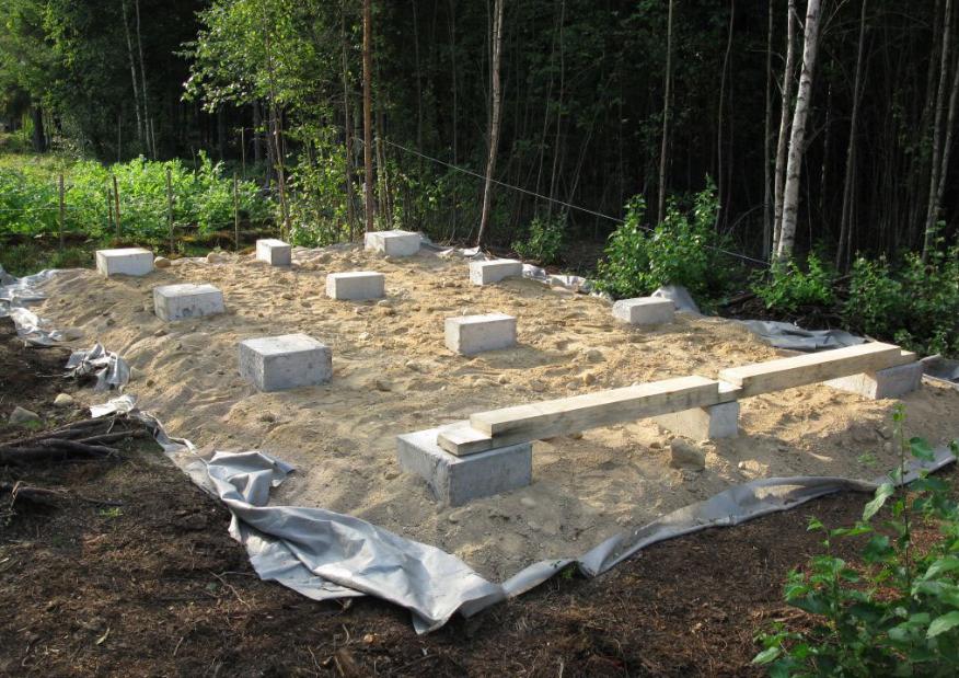 На фото – фундамент под сарай готов