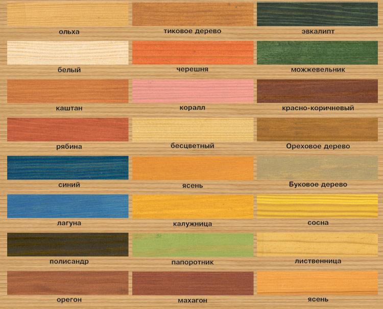 На фото – карта цветов для подбора нужного оттенка