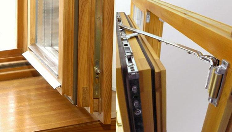 На фото показан поворотно-запорный механизм стандартного окна.