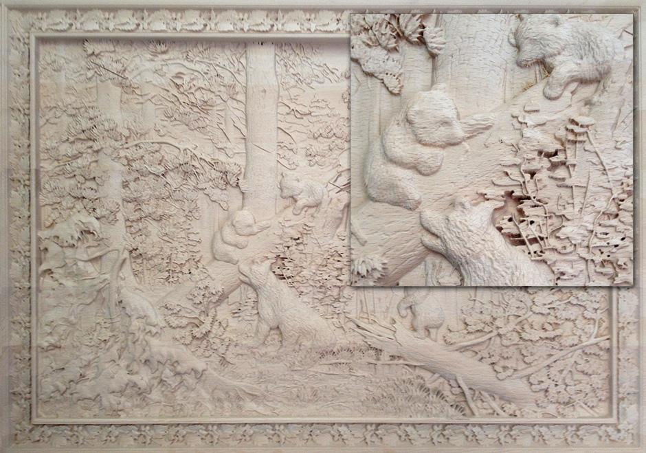 На фото: станки способны делать картины из дерева с потрясающей детализацией