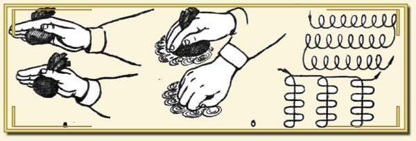 На фото видно, как нужно держать тампон и какими движениями наносить материал