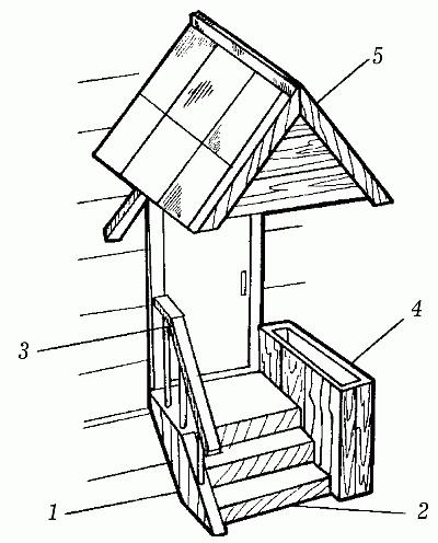 На рисунке устройство деревянного крыльца