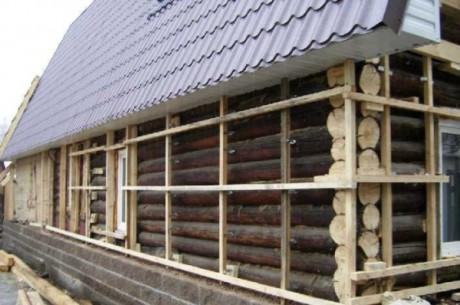 Набивка каркаса на бревенчатый дом