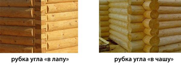 Наглядное фото укладки бревен двумя способами.