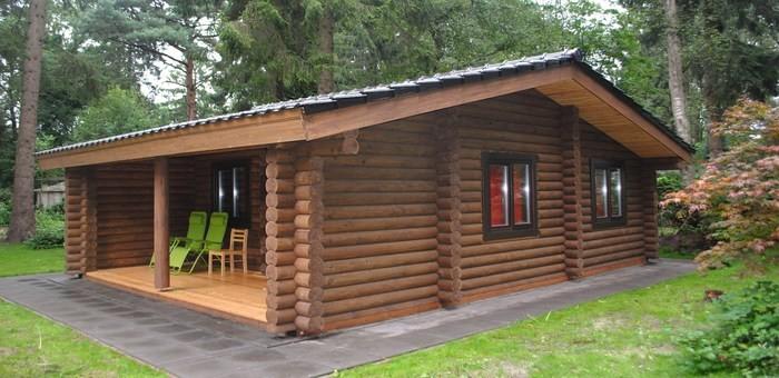 Небольшие одноэтажные деревянные дома шале из бревна