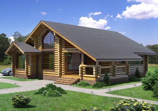 Одноэтажный дом из бревна с большим крыльцом и высоким потолком