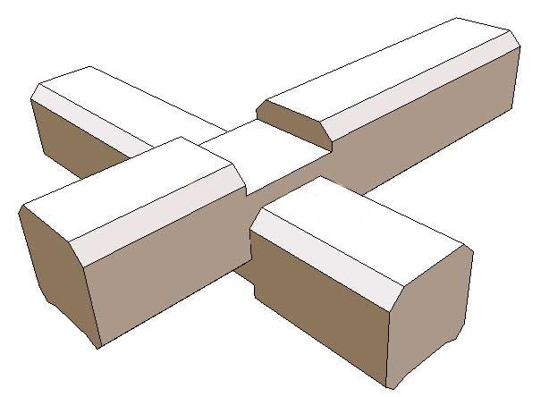 Однострочное соединение балок на углах.