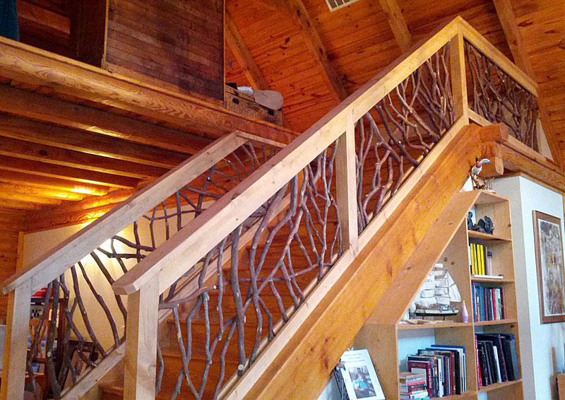 Ограждения лестниц из веток