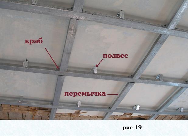 Каркас потолка из профиля под гипсокартон своими руками фото 377