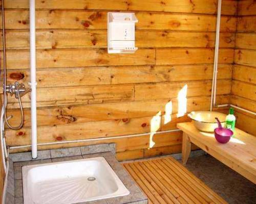 Отделка моечной в деревянной бане фактически не нужна