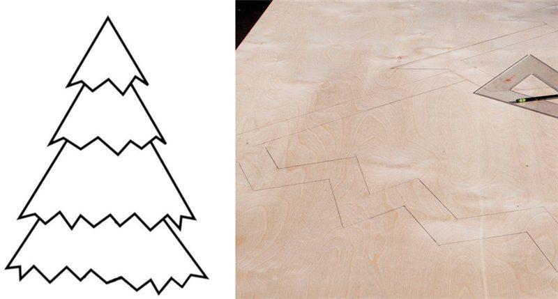 Переносим чертежи елки из фанеры на основной материал