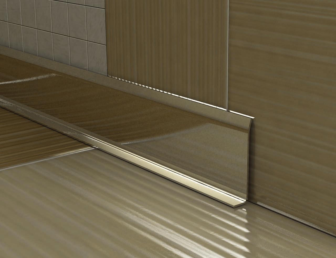 Плинтус из нержавеющей стали может иметь как матовую, так и глянцевую поверхность