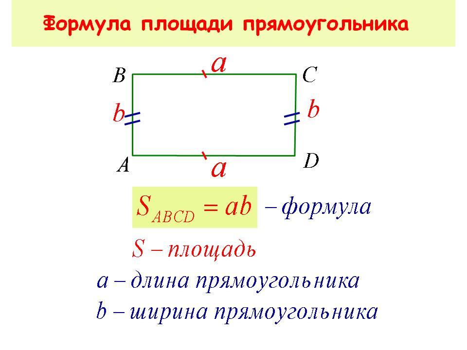 По этой формуле можно найти площадь прямоугольного настила.
