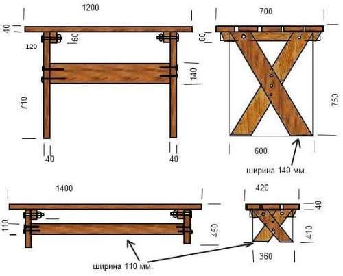 Пример чертежей скамеек и стола