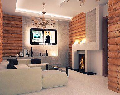 Пример использования блок-хауса в интерьере помещения